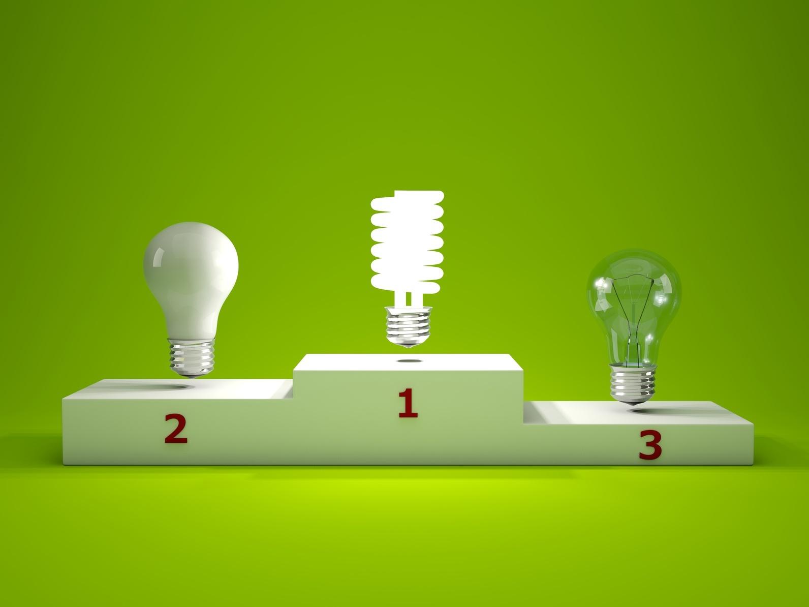 Energy efficient light bulb on podium